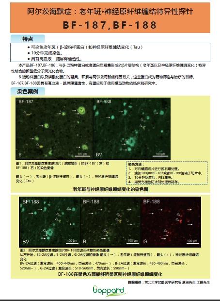 老年斑•神经原纤维缠结特异性探针BF-187,BF-188